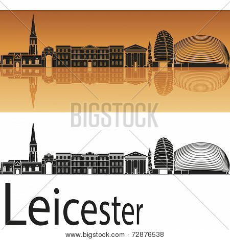 Leicester Skyline In Orange Background