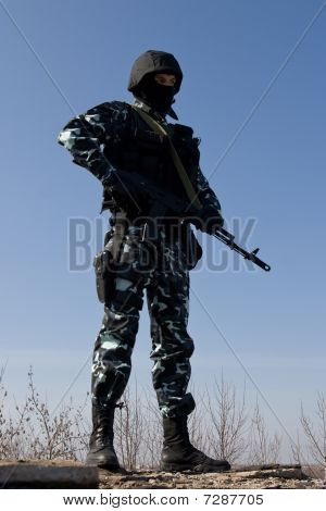 Soldier With A Ak-47 Rifle On Guard