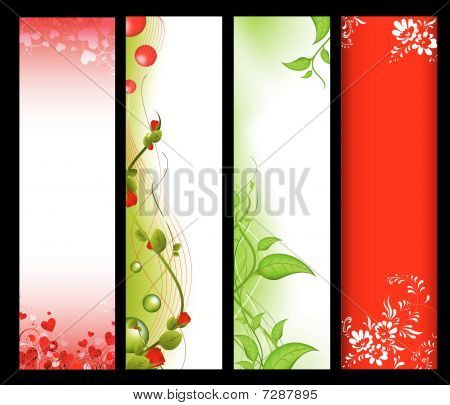 four vertical different web banners