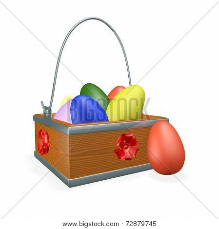 Easter Gift Basket Full Of Colorful Eggs