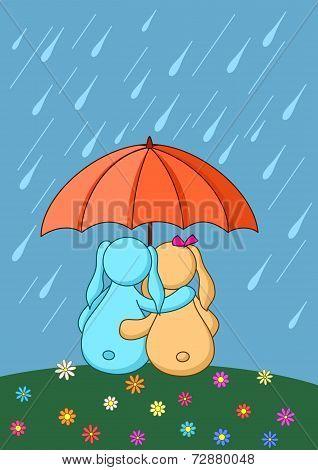 Cartoon rabbits enamoured under umbrella