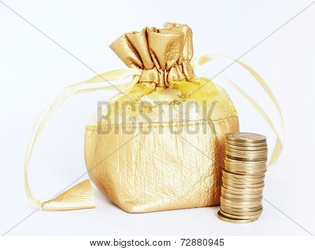 Golden Money Bag With Stack Of Gold Coins