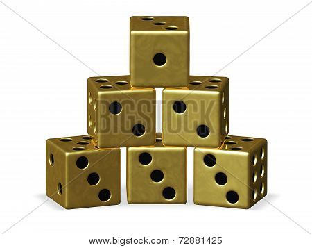Pyramid Stack Of Gold Playing Dice