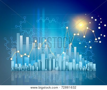 Abstract charts and skyscraper on blue background with a grid.