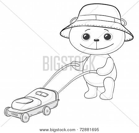 Teddy bear lawnmower, contours