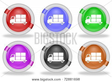 Transportation  Delivery Truck Web Icon Button