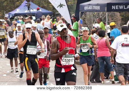 Closepup Of Marathon Runners At Comrades Marathon