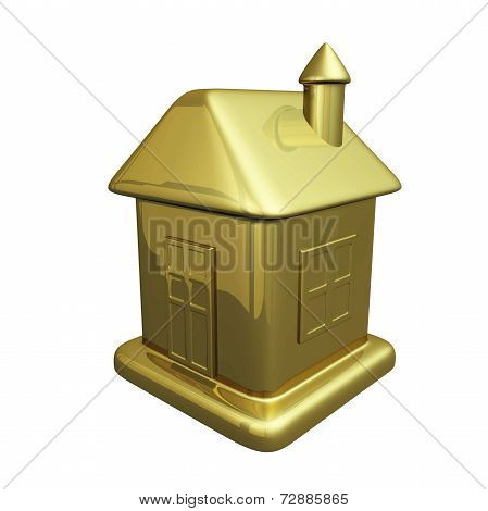Small Gold House Model Icon