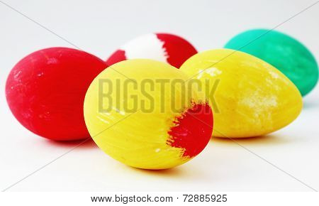 Painted Easter Eggs On White