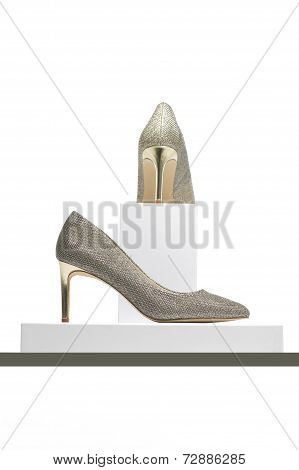 Elegant High Heeled Silver Ladies Shoes On Display