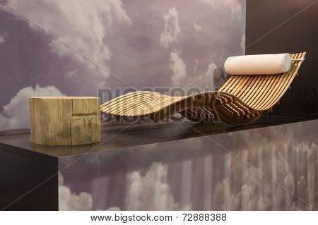 Wooden Chaise Longue On Display At Homi, Home International Show In Milan, Italy