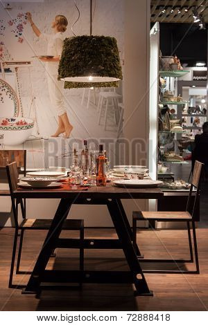 Table On Display At Homi, Home International Show In Milan, Italy