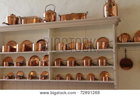 Copper Cooking Saucepans.