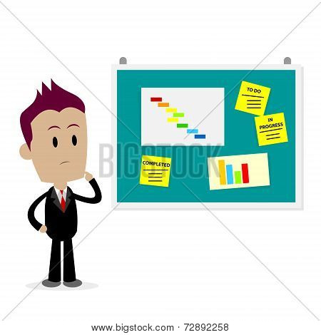 Man Looking At Office Bulletin Board