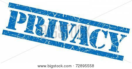 Privacy Blue Grunge Stamp Isolated On White