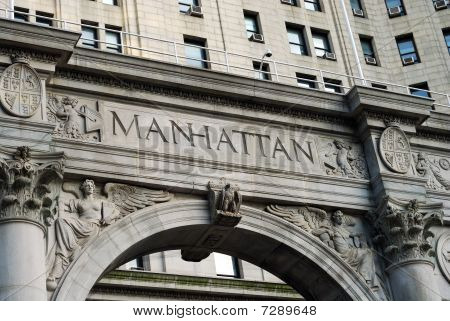 The word Manhattan outside the Municipal Building