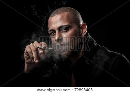 Handsome Young Man Smokes Cigarette In Darkness - Photography Of Unhealthy Adicction