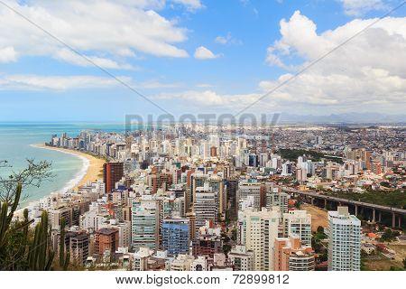 Panoramic View Of Vila Velha, Beach Praia Da Costa, Espirito Santo, Brazil