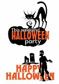 picture of tombstone  - Halloween weekend party invitation with pumpkin - JPG