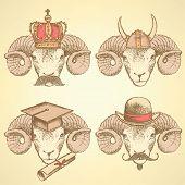 foto of ram  - Sketch unusual rams set in vintage style - JPG