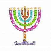 stock photo of menorah  - Illustration of a festive and decorative menorah with bright colors - JPG