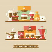 picture of frappe  - Coffee flat collection drink decorative icons on shelves vector illustration - JPG