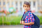 picture of schoolboys  - portrait of cute schoolboy with backpack outdoors - JPG