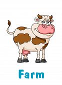 pic of moo-cow  - Cartoon brown and beige cow character for agriculture - JPG