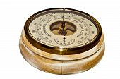 foto of barometer  - Round wooden barometer on a white background - JPG