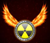 foto of radium  - Radiation sign with fire wings - JPG