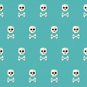 stock photo of skull cross bones  - Illustration of Seamless Halloween Skull Pattern with Bones over blue - JPG
