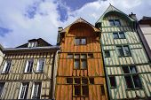 pic of tenement  - tenement house in old town of Troyes in France - JPG