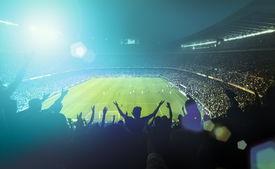 pic of trophy  - football stadium full of fans with light beam - JPG