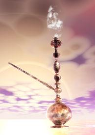 pic of shisha  - Digital 3D Illustration of a Shisha with Smoke - JPG
