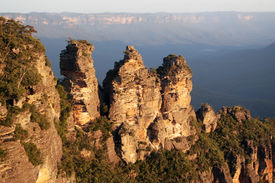 stock photo of three sisters  - Three Sisters rock formation in the Blue Mountains National Park in New South Wales Australia - JPG