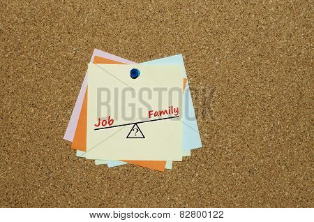 Job or family dilemma written on note