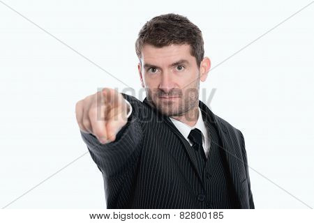 Businessman Is Pointing In To The Camera