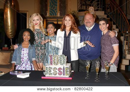 LOS ANGELES - FEB 12:  S Jackson, Peyton List, Karan Brar, Debby Ryan, K Chamberlin, C Boyce at the