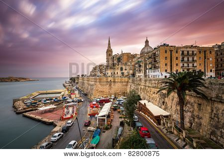 Valletta Skyline In The Cloudy Morning, Malta