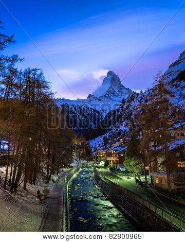 Zermatt Ski Resort And Matterhorn Peak In The Evening, Switzerland