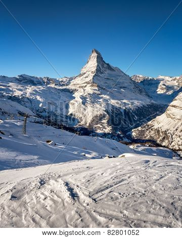 Sunny Ski Slope And Matterhorn Peak In Zermatt, Switzerland