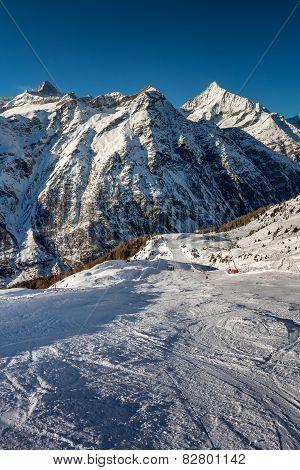 Sunny Ski Slope And Mountains Peaks In Zermatt, Switzerland