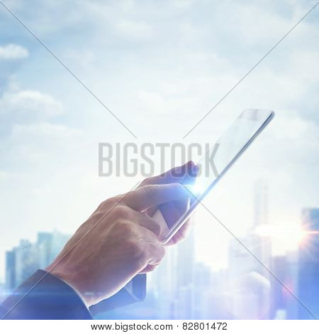 Hands With Digital Tablet On Blurred Megalopolis Background