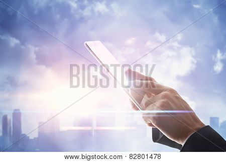 Man With Digital Tablet On Blurred City Background