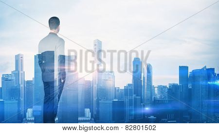 Double Exposure Of A City And A Businessman