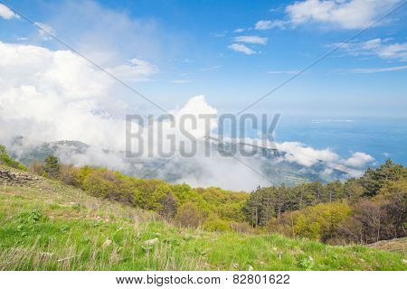 Cloudscape in the mountains Ai-Petri