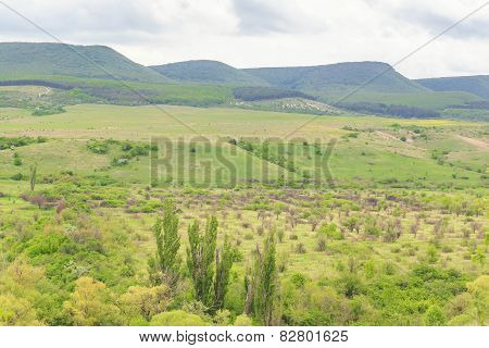Landscape with Crimean mountain range
