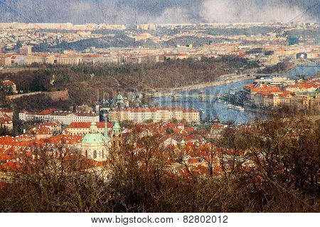 Vintage Textured Panoramic View Of Prague From Petrin Hill