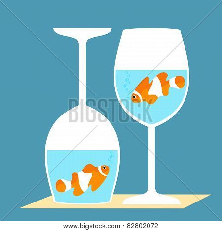 clownfish in a wine glasses