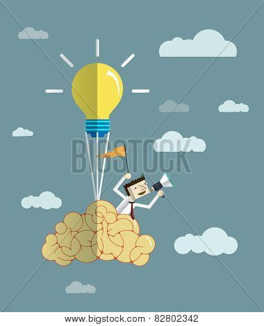 Businessman,balloon,Brain With Light Bulb.
